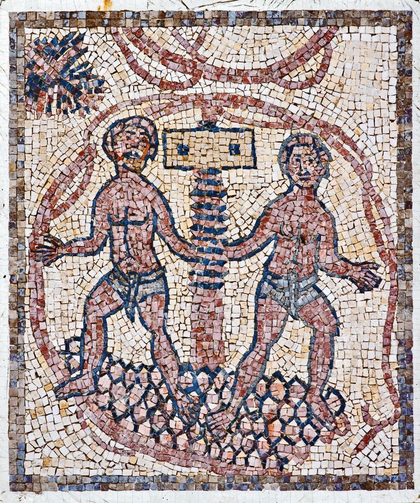 Mosaico d'epoca romana con la torchiatura dell'uva, Israele.