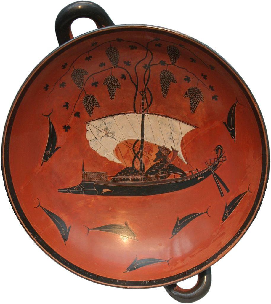 Exekias, Kylix con il mito di Dioniso e dei pirati tirreni trasformati in delfini (530 a.C. circa; ceramica a figure nere, diametro 30,5 cm, altezza 13,6 cm; Monac