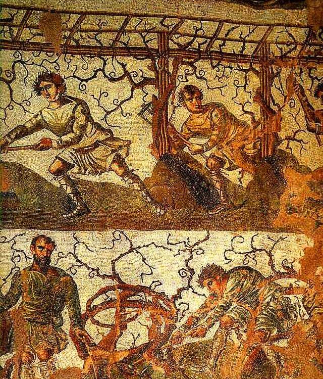 Mosaïque romaine de la série des travaux des champs exposée au musée archéologique de Cherchell, Algérie