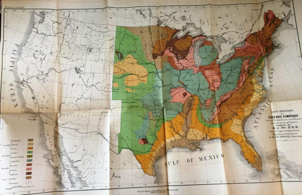 La mappa geologica degli Stati Uniti col percorso del viaggio di Viala (riga nera)