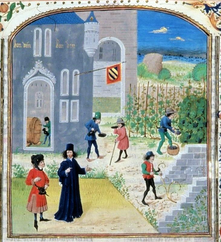 Illustrazione antica dell'opera di de Crescenzi.