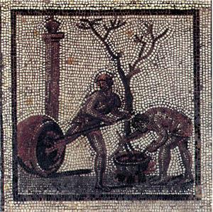 mosaico romano che rappresenta l'impeciatura interna di un vaso.