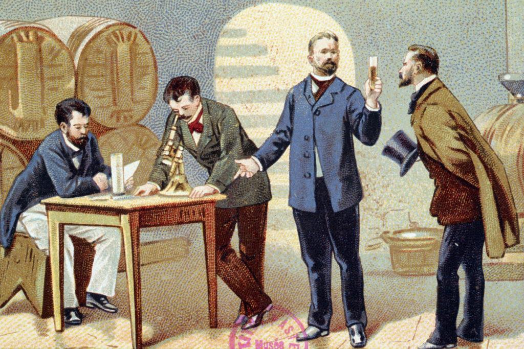 Studi di Pasteur sul vino in un'illustrazione dell'epoca