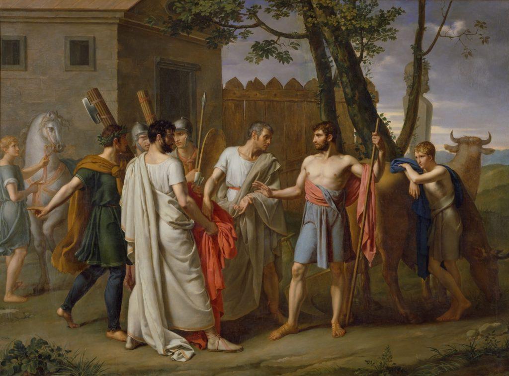 Cincinnato abbandona il suo aratro per essere eletto dittatore e combattere per Roma (Juan Antonio Ribera, 1806).